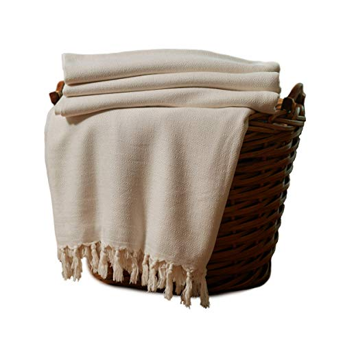 Woven Throw Bamboo (Bamboo Throw Blanket Ultra Soft Natural Premium for Couch Sofa Bed with Handmade Tassels - 90