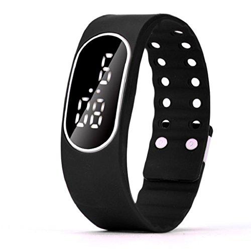 ch Hosamtel Mens Womens Rubber Strap Date Digital Bracelet Wristwatch (Black) ()