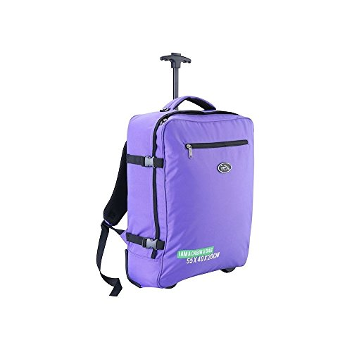 Cabin Max Madrid 55x40x20cm Multi-function Trolley and Backpack Carry On Ryanair Easyjet (Purple)
