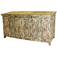 Mogul Interior Antique Chakra Carving Indian 6 Door Sideboard Cabinet Vintage Solid Wood Storage Buffet