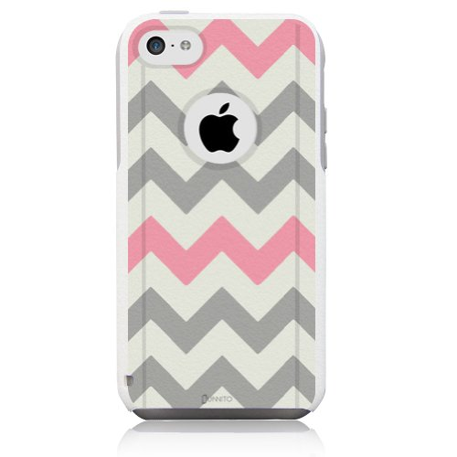 iPhone 5c Case White Chevron Grey Pink [Dual Layered Hybrid] Protective Commuter Case for iPhone 5c White Case by Unnito