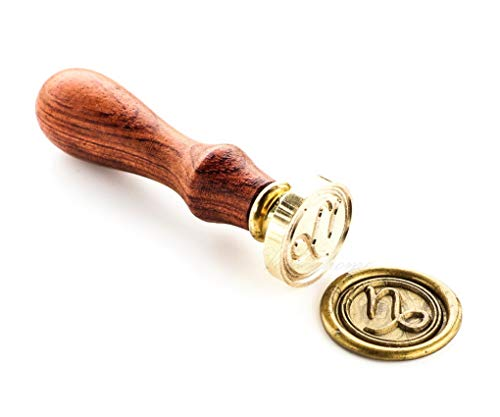 VOOSEYHOME Horoscope Capricorn Sign of Zodiac Wax Seal Stamp with Rosewood Handle Decorating on Gift Packings Invitations Envelopes Letters Cards Books Parcels for Birthday Themed Parties - Zodiac Horoscope Sign Capricorn