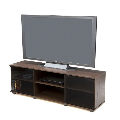 Brayden Studio Keeley 60'' TV Stand, Easy Touch Tempered Glass Doors with Magnetic Catches (Warm Maple) by Brayden Studio