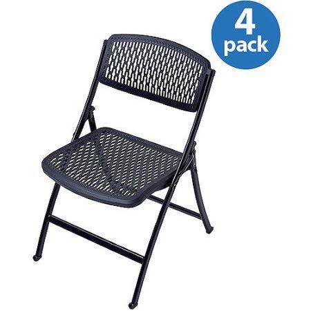 Flex One Folding Chairs  Set Of 4  Multiple Colors Black   Black