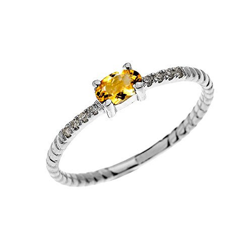 Dainty 10k White Gold Diamond and Solitaire Oval Citrine Rope Design Stackable/Proposal Ring(Size 7) (White Diamond Rope Gold)