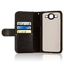 EMPIRE KLIX Genuine Leather Wallet Case for Samsung Galaxy Mega 5.8 - Textured Black Genuine Leather