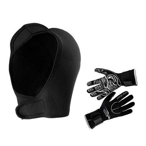 MagiDeal Super Stretch Black Neoprene Hood Cap + Wetsuit Gloves for Underwater Scuba Diving Snorkeling Surfing Kayak…