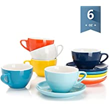 Sweese 4307 Porcelain Cappuccino Cups with Saucers - 6 Ounce for Specialty Coffee Drinks, Latte, Cafe Mocha and Tea - Set of 6, Hot Assorted colors
