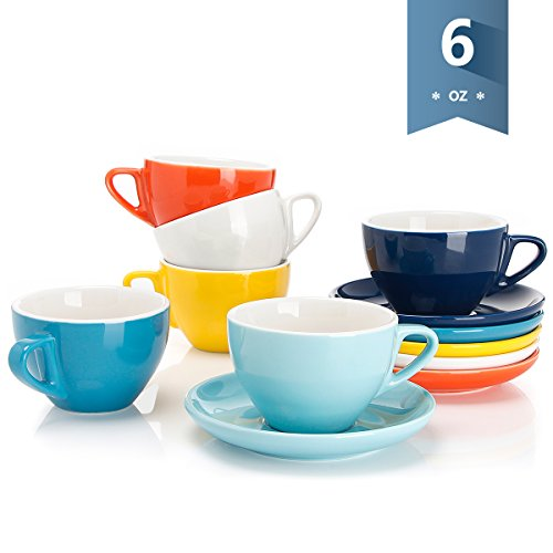 Sweese 4307 Porcelain Cappuccino Cups with Saucers - 6 Ounce for Specialty Coffee Drinks, Latte, Cafe Mocha and Tea - Set of 6, Hot Assorted colors Cup Saucer Cafe