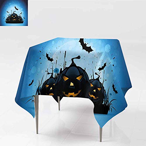 Jbgzzm Halloween Square Tablecloth Scary Pumpkins in Grass with Bats Full Moon Traditional Composition Great for Buffet Table W63 xL63 Black Yellow Sky Blue -