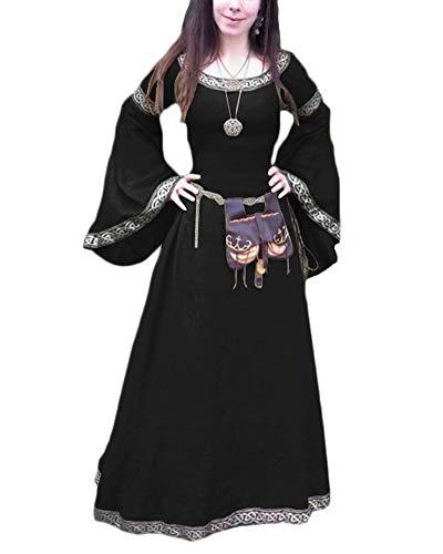 Medievale Principessa Abito Cosplay Donna Di Lungo Travestimento Costume Partito Vestito Medioevo Retro Nero Girocollo Corte mNn08wv