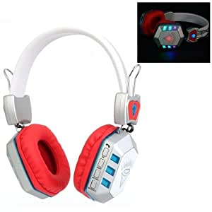 Universal Bluetooth Stereo Headset with FM / 3.5mm Stereo Plug / Volume Control Key / TF Card / LED Disco Light (Red)