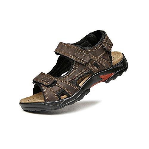 da Nabuk con Cinturino Pelle Uomo Spiaggia da in Scarpe NXY Open Velcro Sport Marrone Toe in estive Sandali qwRxX4nng6
