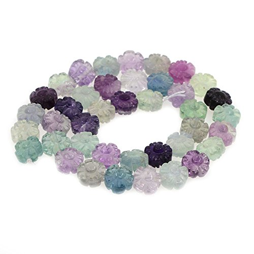 10mm Carved AAA Clear Fluorite Plum Blossom Flower Loose Gemstone Beads 16