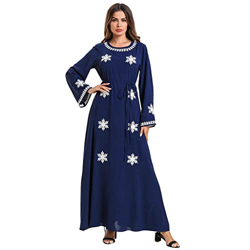 (Women Muslim Kaftan Abaya Dress Elegant Floral Printing Summer Casual Flowy Long Maxi Party Cocktail Dresses)