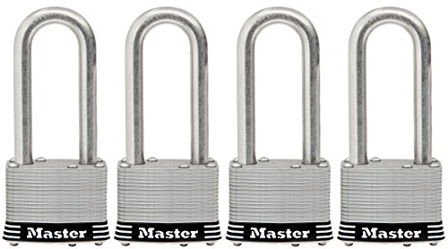 Shackle Laminated Steel Padlock - Master Lock Padlock, Laminated Stainless Steel Lock, 2 in. Wide, 5SSQLJ (Pack of 4-Keyed Alike)