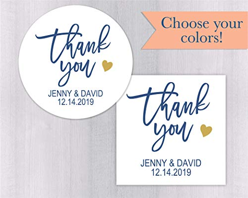 (Thank you Wedding Stickers, Favor Labels for Bridal Showers (#241-WH))