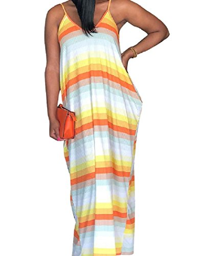 Color Strip Women Maxi Pockets Dress Coolred Pocket Big Yellow Splice Long Sling xTagx1qZc