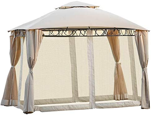 Outdoor BBQ Gazebo Tent with Mosquito Netting, Double Tiered Grill Canopy with UV Protection, Beige. 142 x 127
