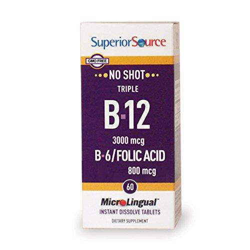 Superior Source No Shot Triple B12/B6/Folic multivitamins, 3000 mcg, 60 Count