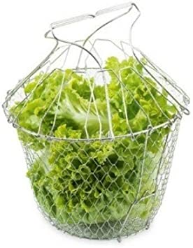 BANGSUN Panier /à salade pliable en acier inoxydable pour frites l/égumes salades