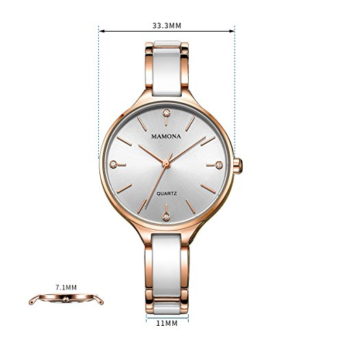MAMONA Women's Quartz Watch Gift Set Crystal Accented Ceramic and Stainless Steel Rose-Gold L3877RGGT by MAMONA (Image #2)