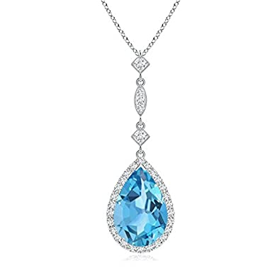 Angara Pear Shaped Swiss Blue Topaz Teardrop Necklace in Platinum o1Z83qy