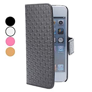 GHK - Grid Pattern PU Leather Case with Card Slot and Wallet for iPhone 5/5S (Assorted Colors) , Black