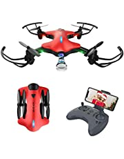 ATOYX AT-146 FPV Foldable RC Drone, 720P Wide Angle HD Camera Live Video WiFi Quadcopter With Altitude Hold Headless Mode 3D Flips One Key Take-Off/Landing for Beginners Kids