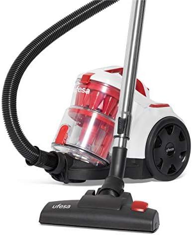 UFESA AS4050 AS4050-Aspirateur sans Sac, 800W, Filtre HEPA 13,capacité de 2L, Sol Dur et Mou, Embout 2 en 1, Blanc/Rouge, Medium