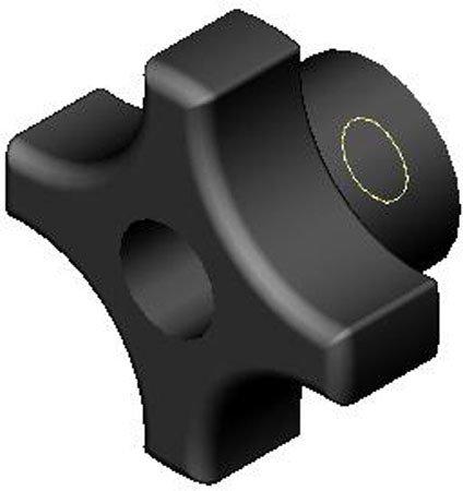 1 1//4mm dia. M6x1.00 thds. 1 Each Metric Four Prong Plastic Knobs w//Black Glossy Phenolic Thru Hole Brass Insert