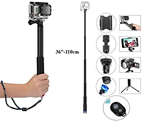 Legazone Selfie Stick Extendable Monopod with Tripod Stand for GoPro Hero 5/4/3+/3/2/1/Session,SJCAM Cameras,4K Action Camera, Ricoh Theta S, Olympus, M15 Camera, 360fly 4K, YI 4K and Cell Phones