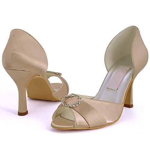 Kevin Fashion Ladies mz578Peep Toe Med talón rhinestone satén novia boda zapatos sandalias champán