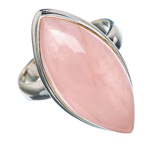 Rose Quartz Ring Size 7.5 (925 Sterling Silver) - Handmade Boho Vintage Jewelry RING926662