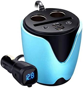 スイッチ付き車の充電器カップタイプ車多機能充電器デュアルUSB車両電源アダプタ携帯電話充電器