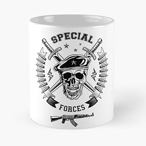 (Army Military Beret Special Force Skull Forces Emblem War Soldier Warrior Logo Green Design Uniform Armed Commando Dagger Star Bullet Gun Lightning Ribbon Funny Floral Coffee Mugs Gifts)