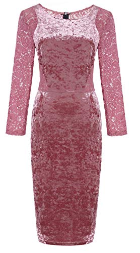 OLRAIN Women's Long Sleeve Velvet Lace Midi Wrap Dress (XX-Large, Pink)