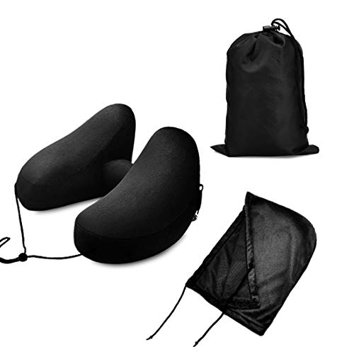 BESC Inflatable Travel Pillow for Airplanes - Multinational Traveling Neck Pillow Set with Hood for Women Men Kids - Soft Small Portable Supports Head Chin (Black) by BESC