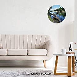 SCOCICI Round Wall Clock, Waikato River Hamilton City New Zealand Holiday Art Wall Clocks Battery Operated Non Ticking Silent Wall Clock Decorative for Living Room Decor Kitchen Kids 10 inch