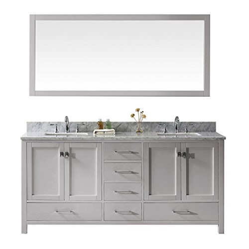 Virtu USA GD-50072-WMSQ-CG Caroline Avenue Double Bathroom Vanity with Marble Top/Square Sink with Mirror 72