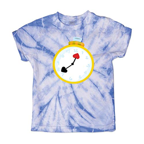 Cute Rascals Cards Clock Short Sleeve Crewneck Baby Boys-Girls Cotton Tie Dye T-Shirt Fine Jersey - Carolina Blue, 3T