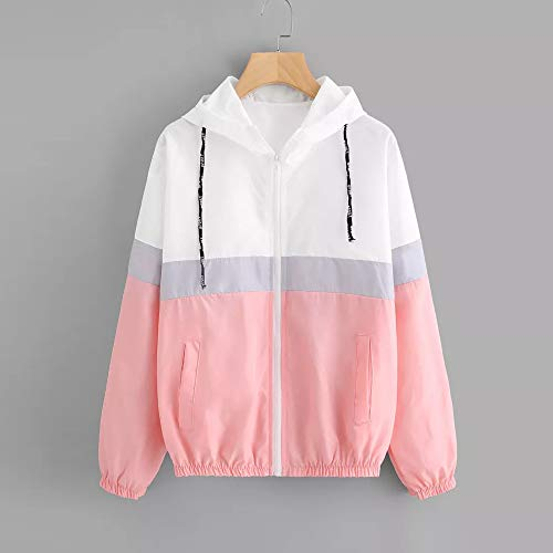 Hooded Zipper Casual Women Pink Jersh Outerwear Thin Tunic Women Long Sleeve Skinsuits Sweatshirt Coat Hoodie Patchwork Pockets PRdRxvw6q