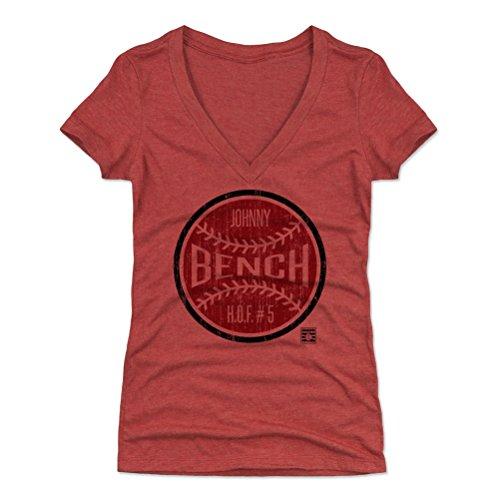 500 LEVEL Johnny Bench Women's V-Neck Shirt Large Tri Red - Vintage Cincinnati Baseball Women's Apparel - Johnny Bench Ball - Classic Cincinnati Shirt Reds
