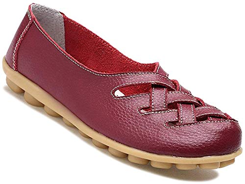 Fangsto Women's Cowhide Leather Loafers Flats Sandals Slip-On US Size 9.5 Burgundy ()