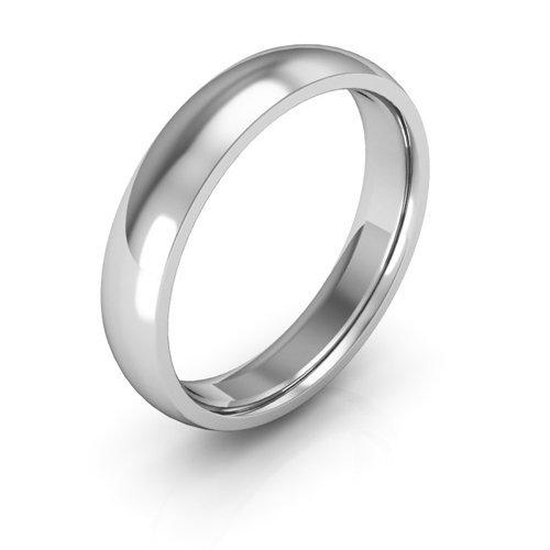 14K White Gold men's and women's plain wedding bands 4mm comfort-fit light, 7