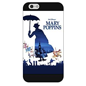 Customized Black Hard Plastic Disney Cartoon Mary Poppins Case Cover For Apple Iphone 5C Case, Only fit Iphone 5/5S +