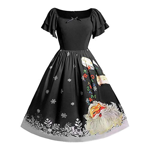 YOcheerful Women Christmas Vintage Princess Swing Dress Cocktail Party Plus Size Bow Santa Claus Print Midi Dress