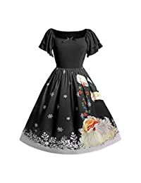 Pervobs Christmas Dress Women Plus Size Bow Santa Claus Print Swing Xmas Dress