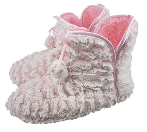Women's Plush Thick Lining Booties with Soft Memory Foam Indoor Slippers US 6-7 Pink ()