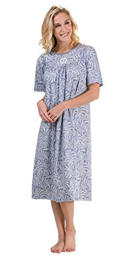Calida Short Sleeve Nightgown - Cotton Knit in Blue Arbor (Avalon Blue Arbor, X-Small (4-6))
